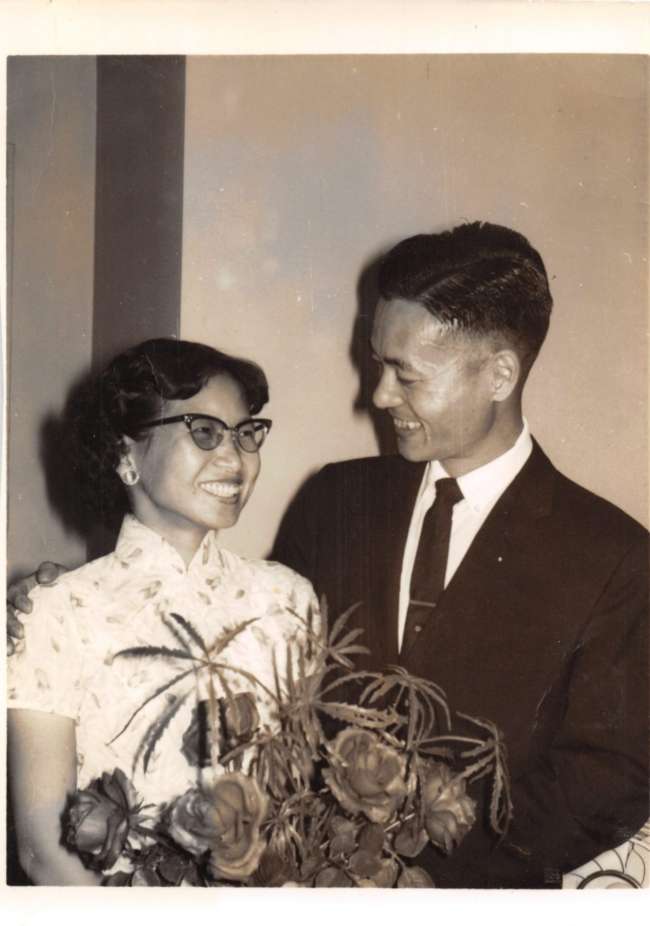 Dr. and Mrs. James S. C. Chao look lovingly at each other during their reunion in America after a long, three-year separation.