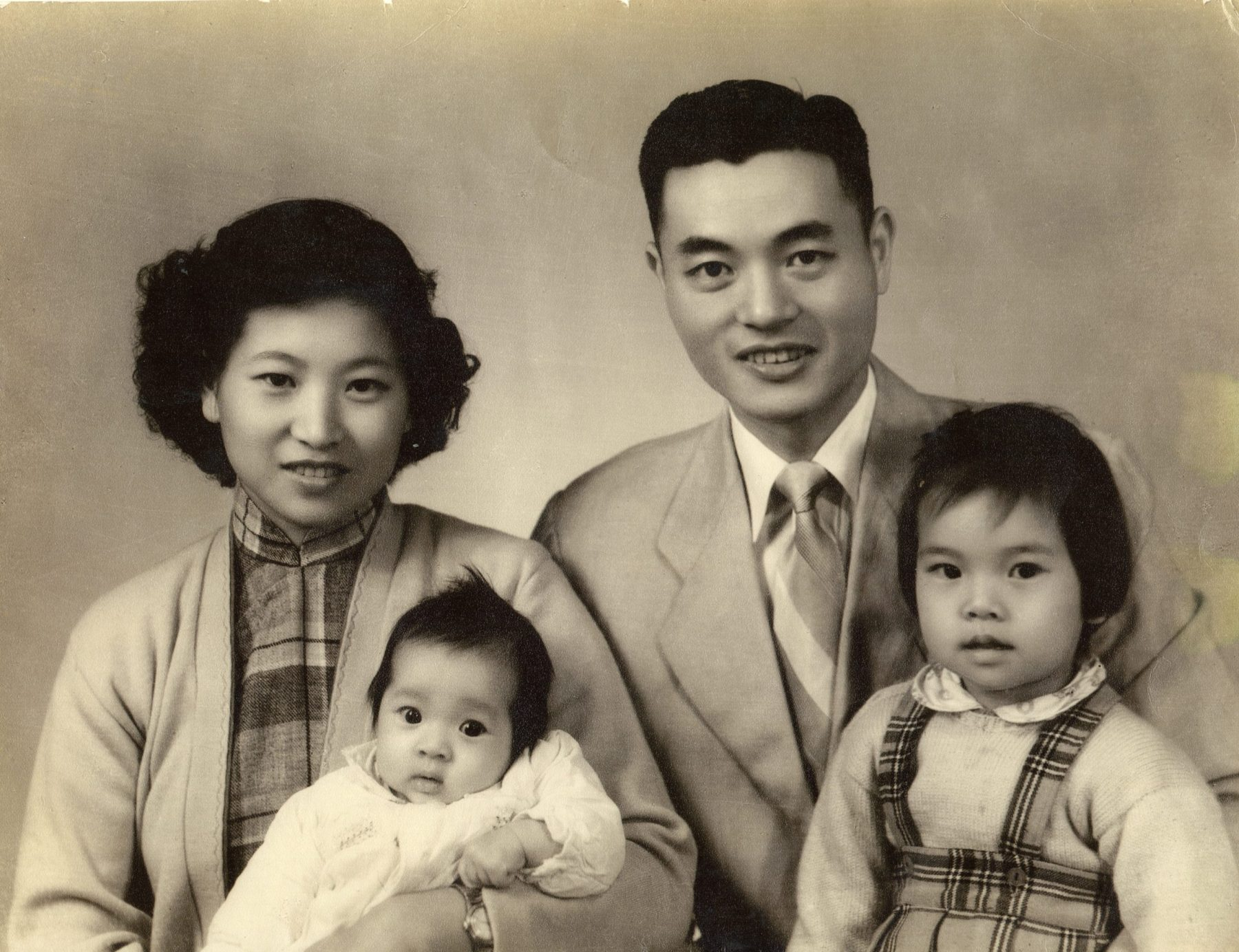 Future U.S. Secretary of Labor and Transportation Elaine L. Chao with her parents Dr. and Mrs. James S. C. Chao and sister Jeanette.
