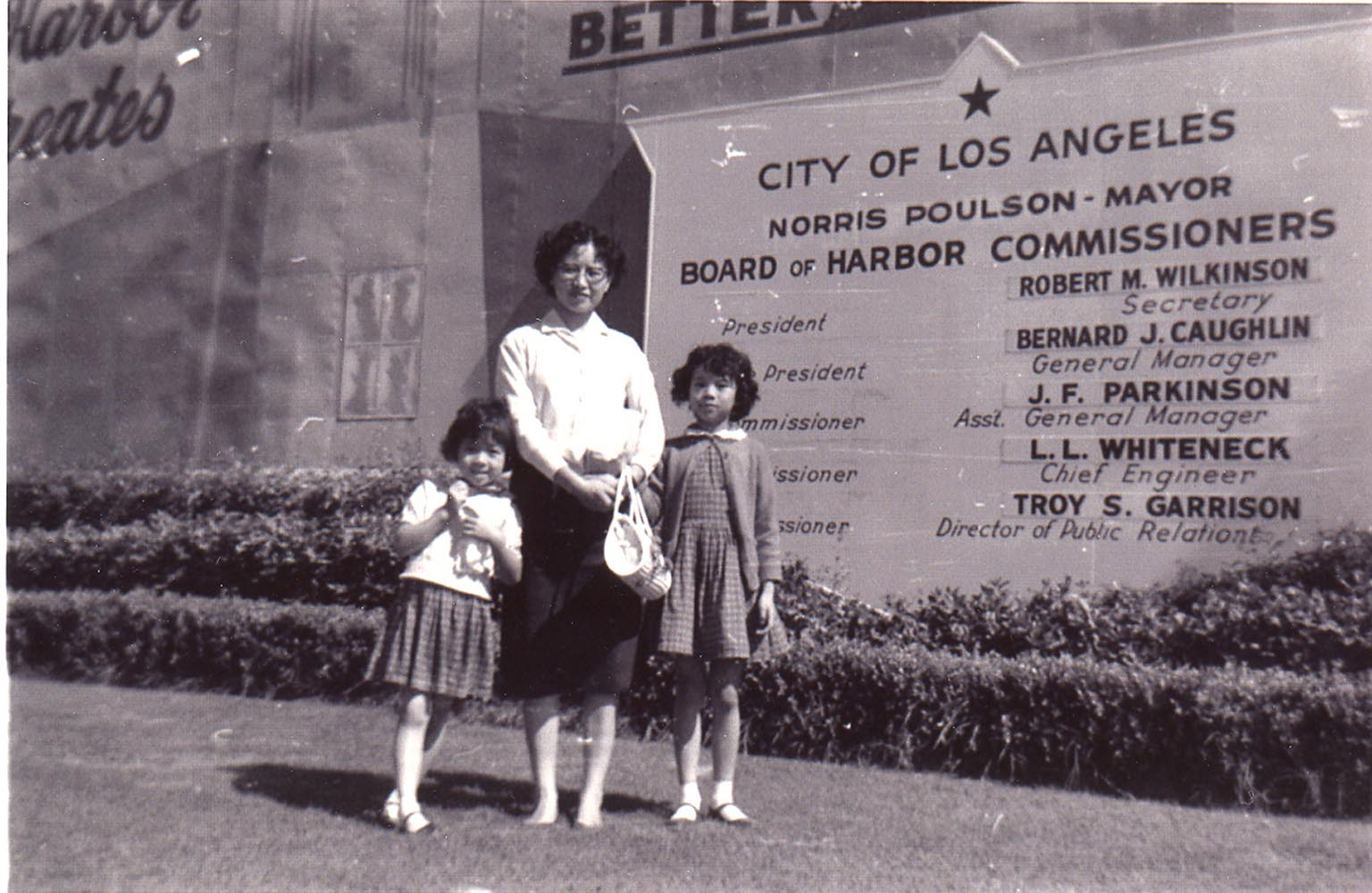 Mrs. Ruth Mulan Chu Chao and 2 daughters took their first steps on American soil when the ship made a brief stop at Los Angeles before continuing through the Panama Canal to New York City.
