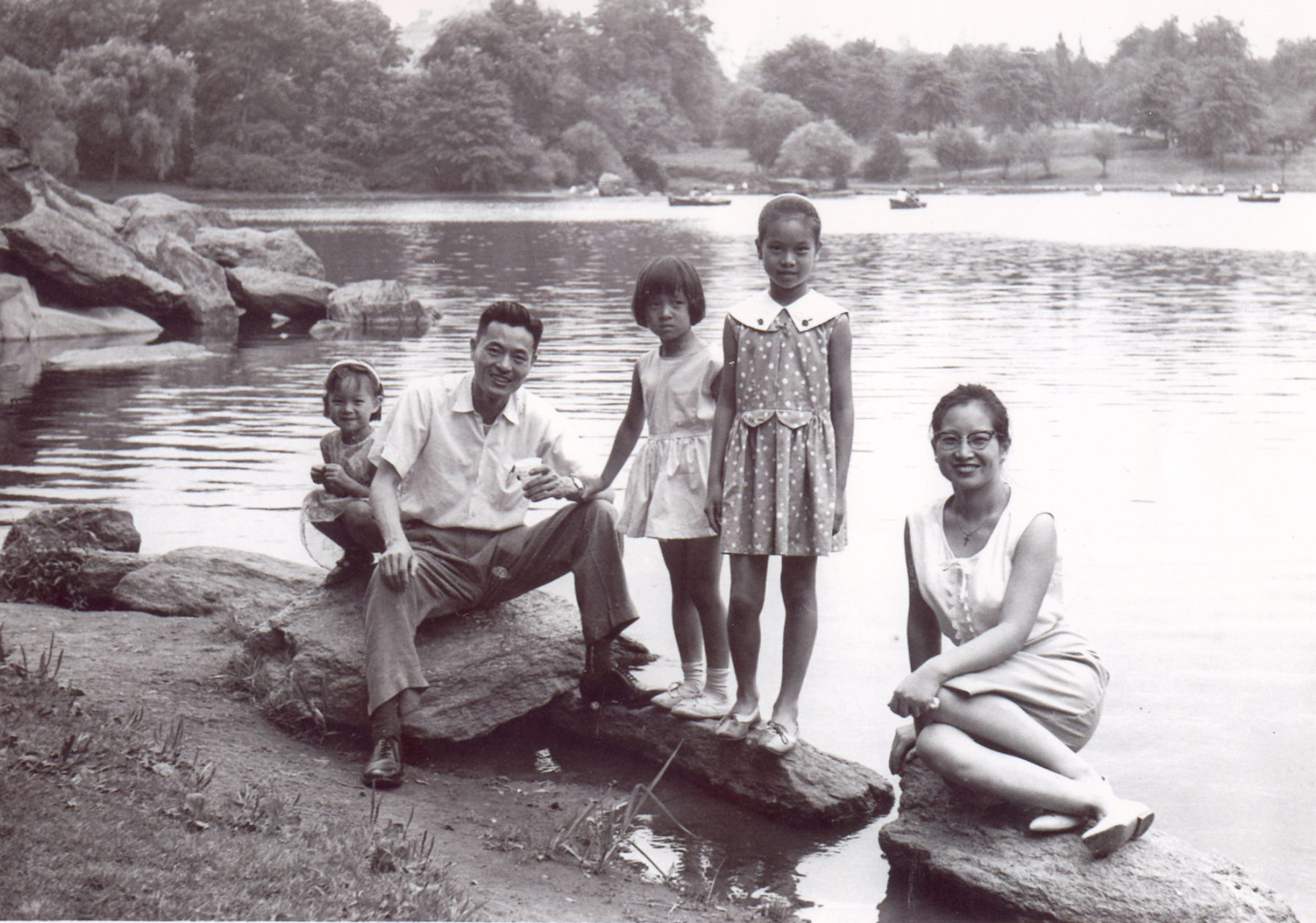 The young Chao family after a day's outing at Central Park, New York City.