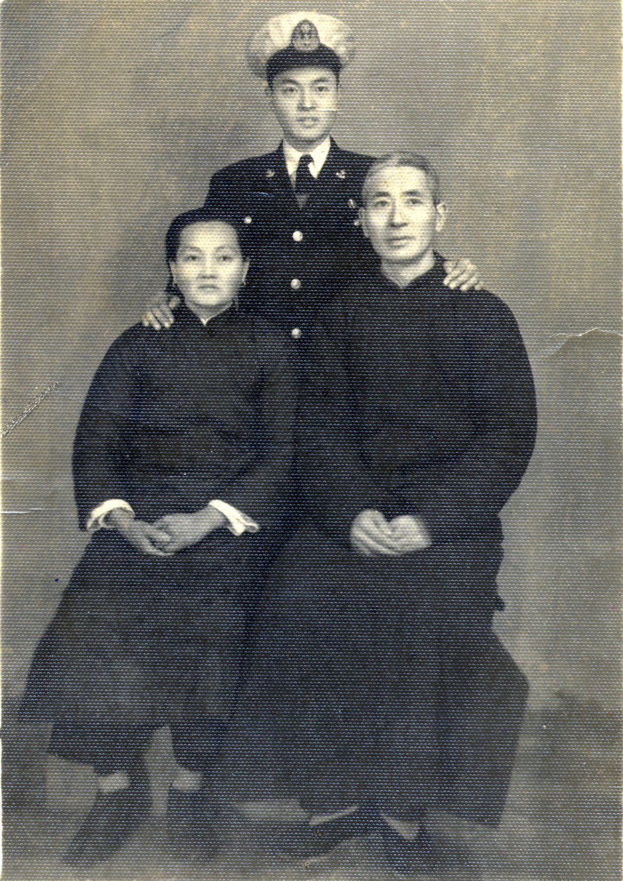 Last photo of Dr. James S. C. Chao with his parents, Mr. Yi-Ren Chao and Mrs. Yu-Chin Hsu Chao, before he went off to sea. It would be 23 years before he would be reunited with his mother. He would never see his father again.