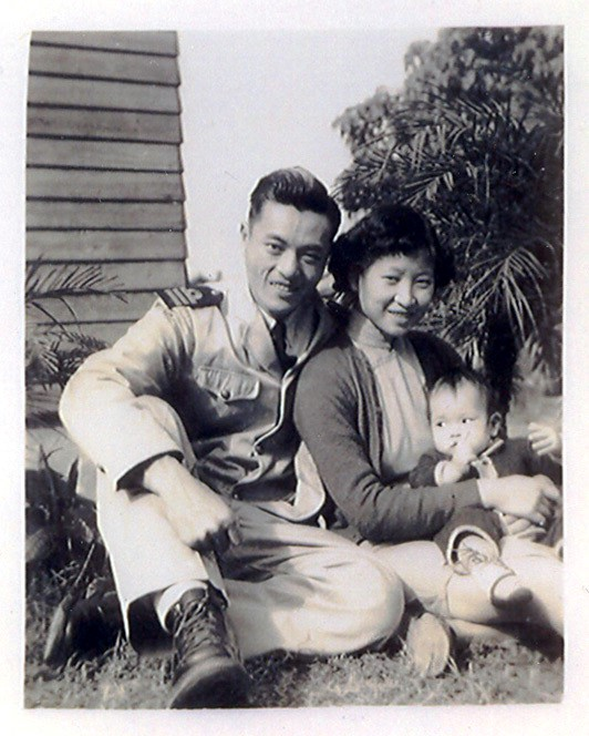 Merchant Marine First Officer James S. C. Chao with wife, Ruth Mulan Chu Chao, and firstborn, Elaine, future U. S. Secretary of Labor & Secretary of Transportation.