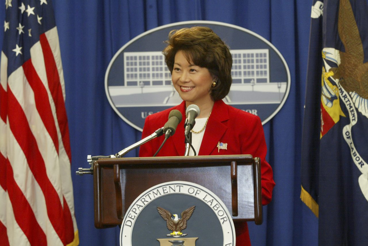 Secretary Elaine Chao announcing the resolution of the West Coast Ports dispute.