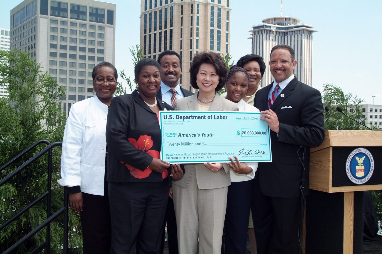 Secretary Elaine Chao presents a $20 million grant to the National Urban League in the aftermath of Hurricane Katrina. New Orleans, LA.