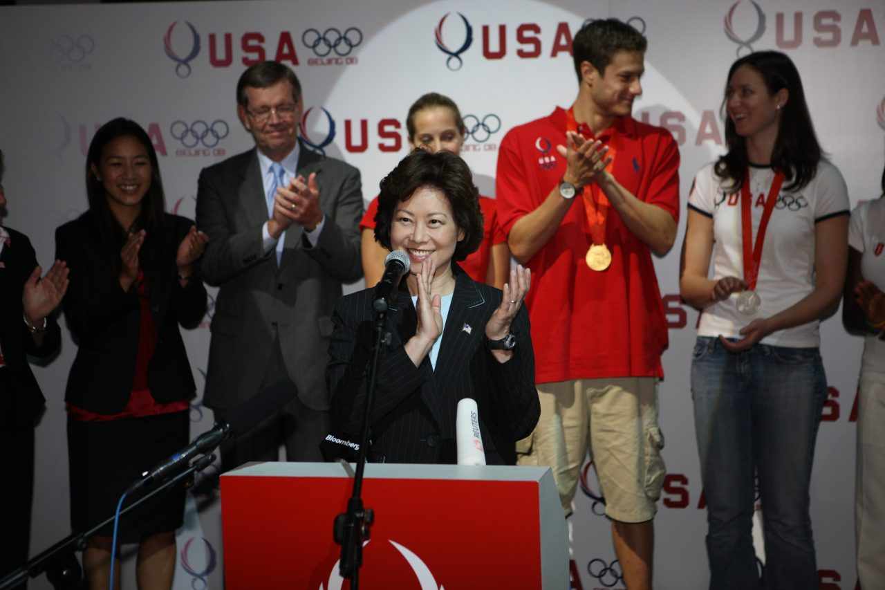 Head of the U.S. Presidential Delegation to the closing ceremony of the Beijing Olympics, Secretary of Labor Elaine Chao gives remarks at USA House.
