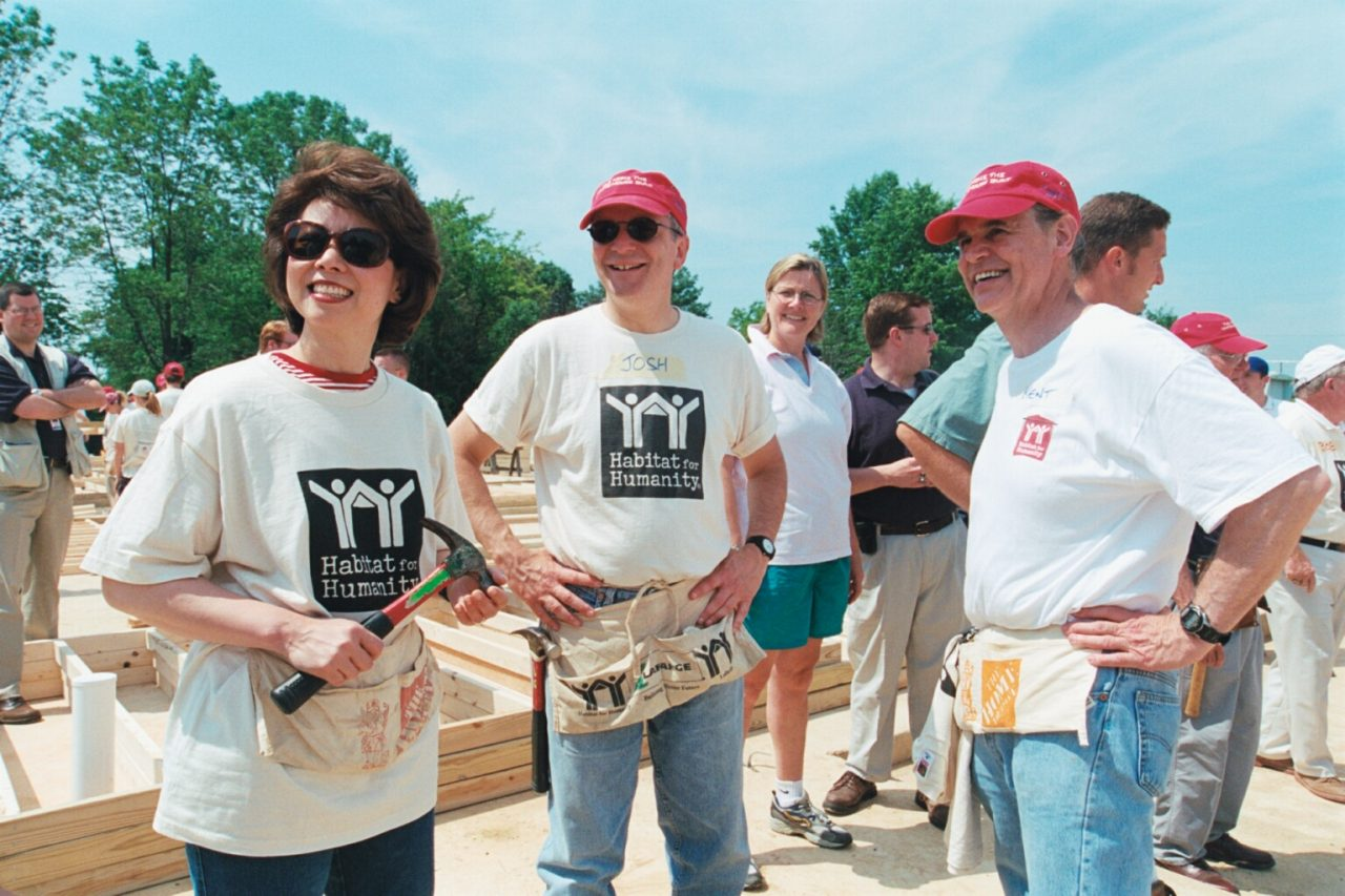 Secretary Elaine Chao and White House Deputy Chief of Staff Josh Bolten volunteering at a Habitat for Humanity building site, Fairfax, VA.