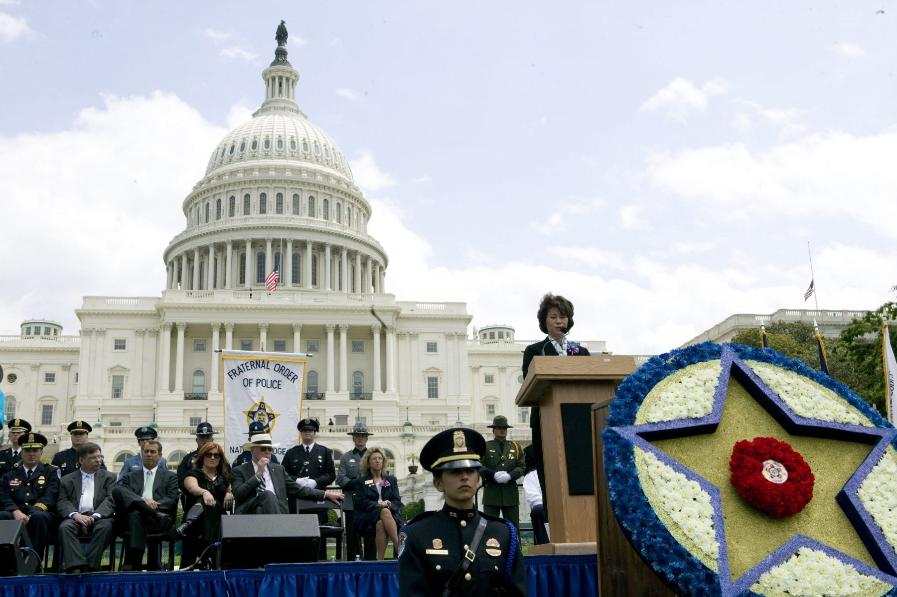 U.S. Secretary of Labor Elaine Chao keynoting the National Peace Officers Memorial Service hosted by the Fraternal Order of Police, National Mall, Washington, D.C.