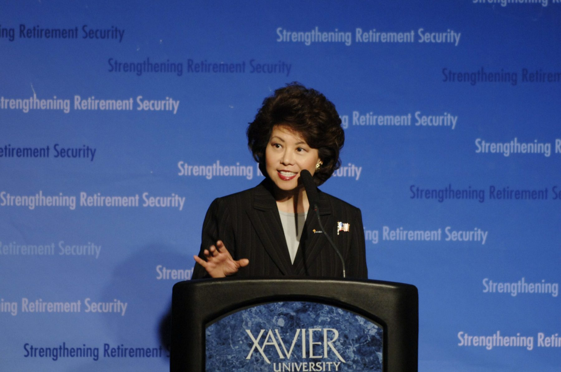Secretary Elaine Chao speaking about retirement security at Xavier University, Cincinnati, Ohio.