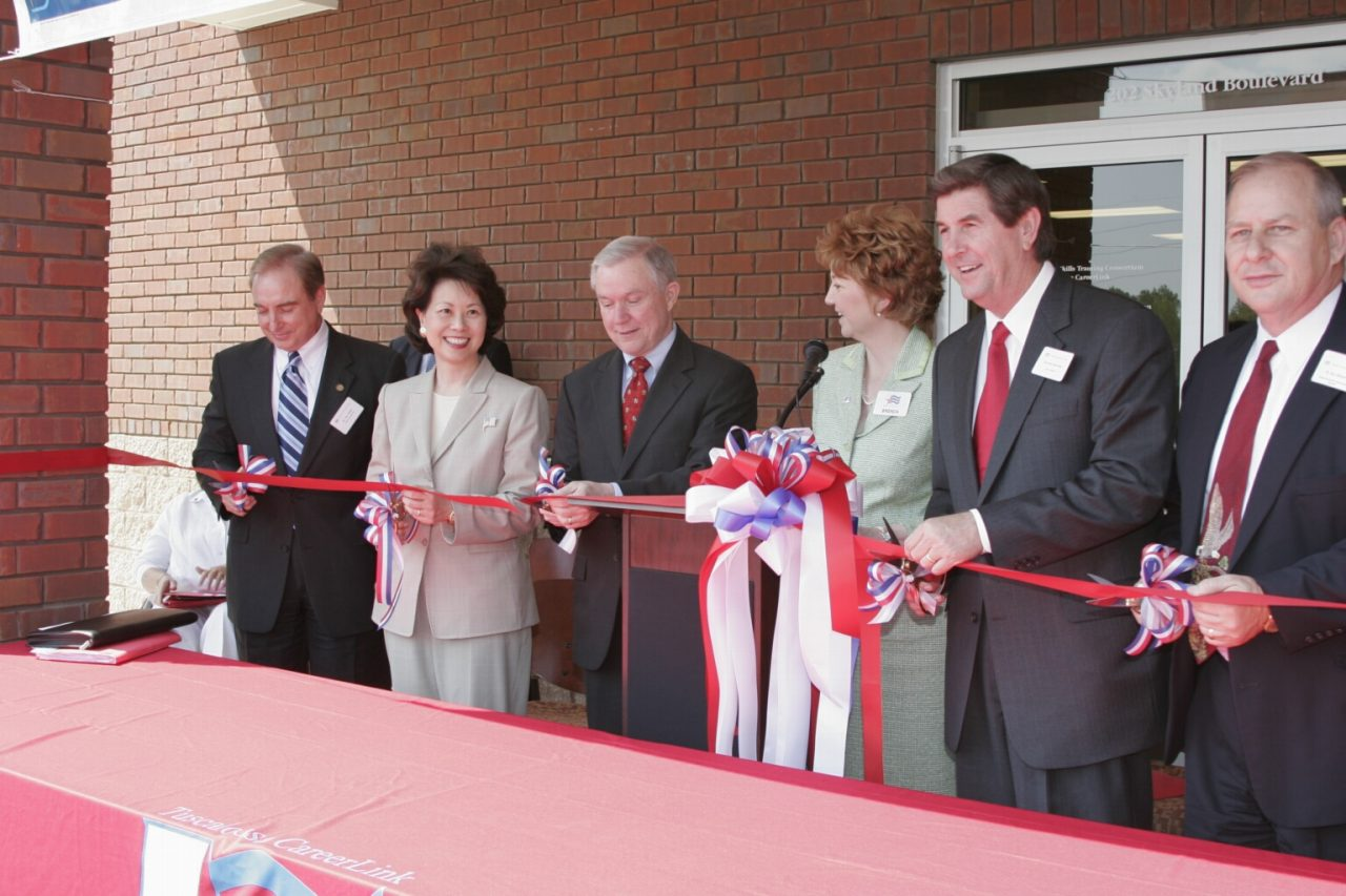 Secretary Elaine Chao opening a new one-stop career center in Tuscaloosa, Alabama with U. S. Senator Jeff Sessions and Governor Bob Riley attending.