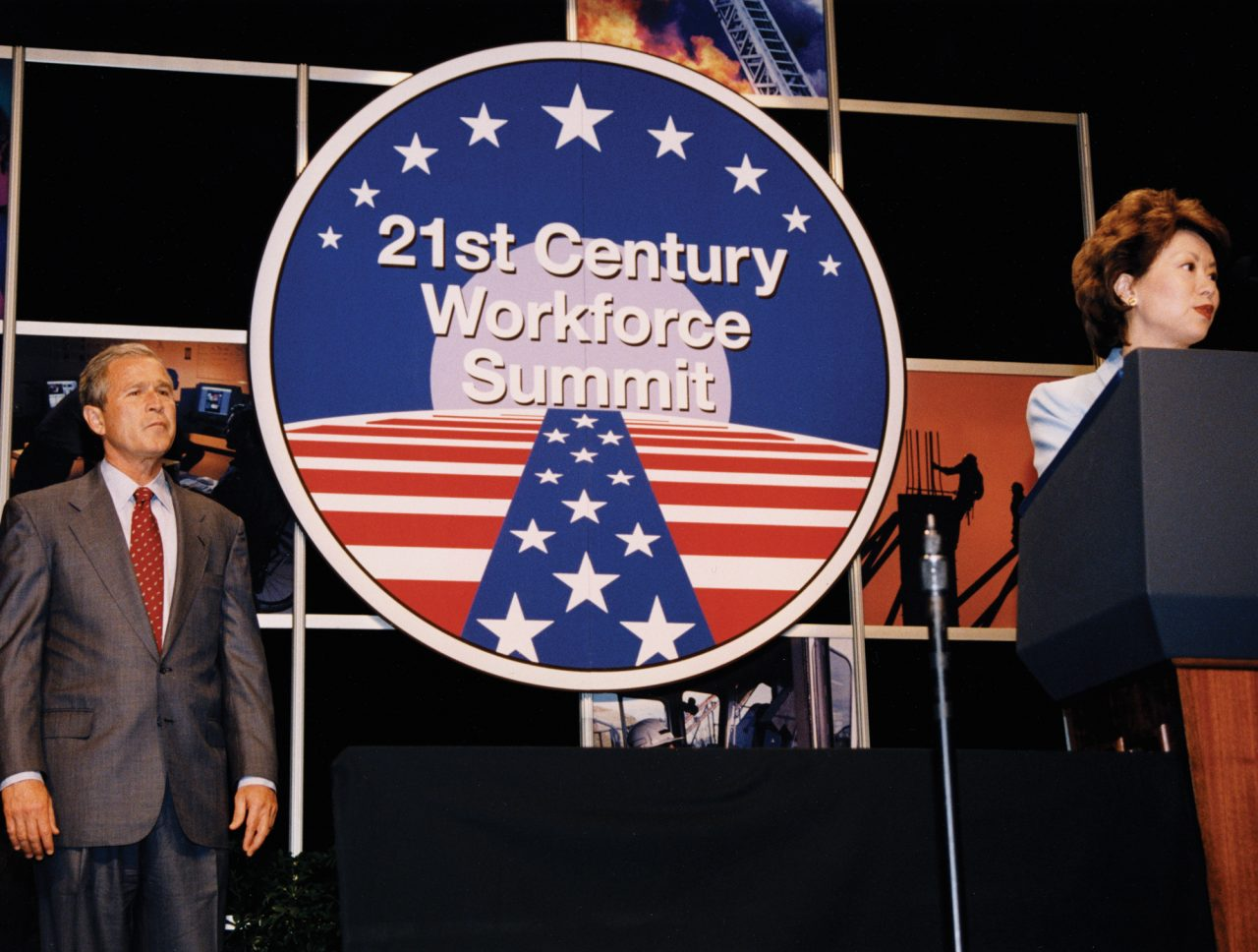 Secretary of Labor Elaine Chao hosts the National Summit on the 21st Century Workforce with President George W. Bush as keynote speaker.