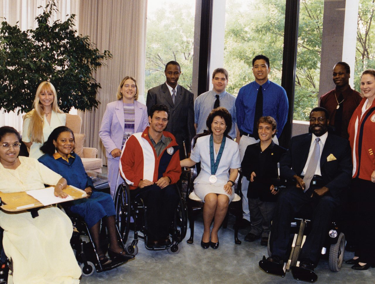 Secretary Elaine Chao meeting with Americans with disabilities on how her department can improve employment in this community.