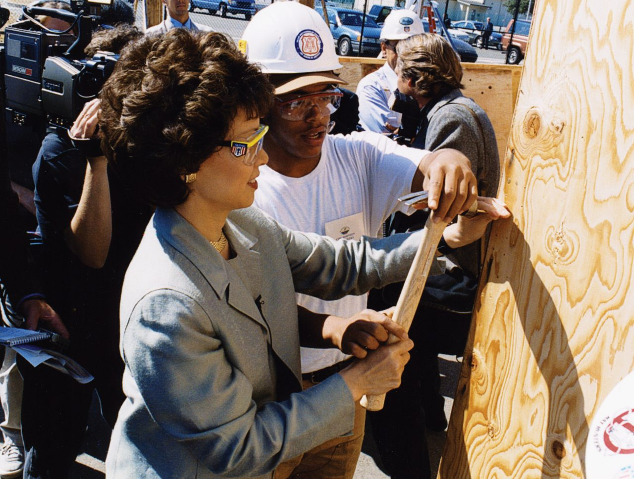 Secretary Elaine Chao visiting a Job Corps apprentice training center.