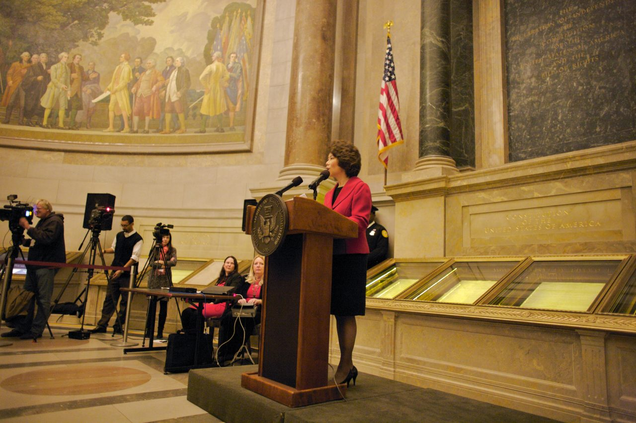 The Honorable Elaine Chao delivers keynote remarks at a Naturalization Ceremony at the National Archives.