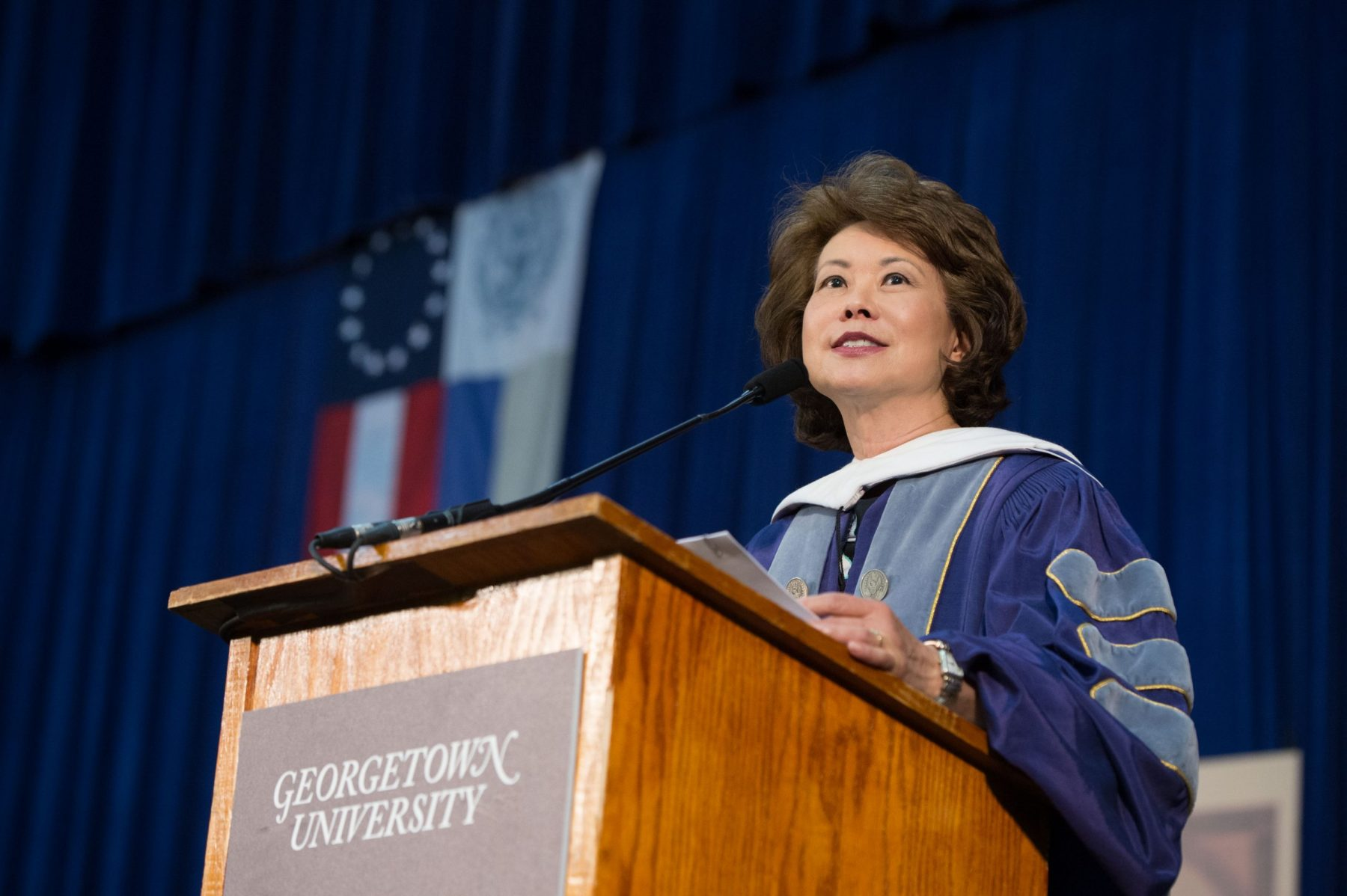 The Honorable Elaine Chao gives the Commencement speech at Georgetown University.