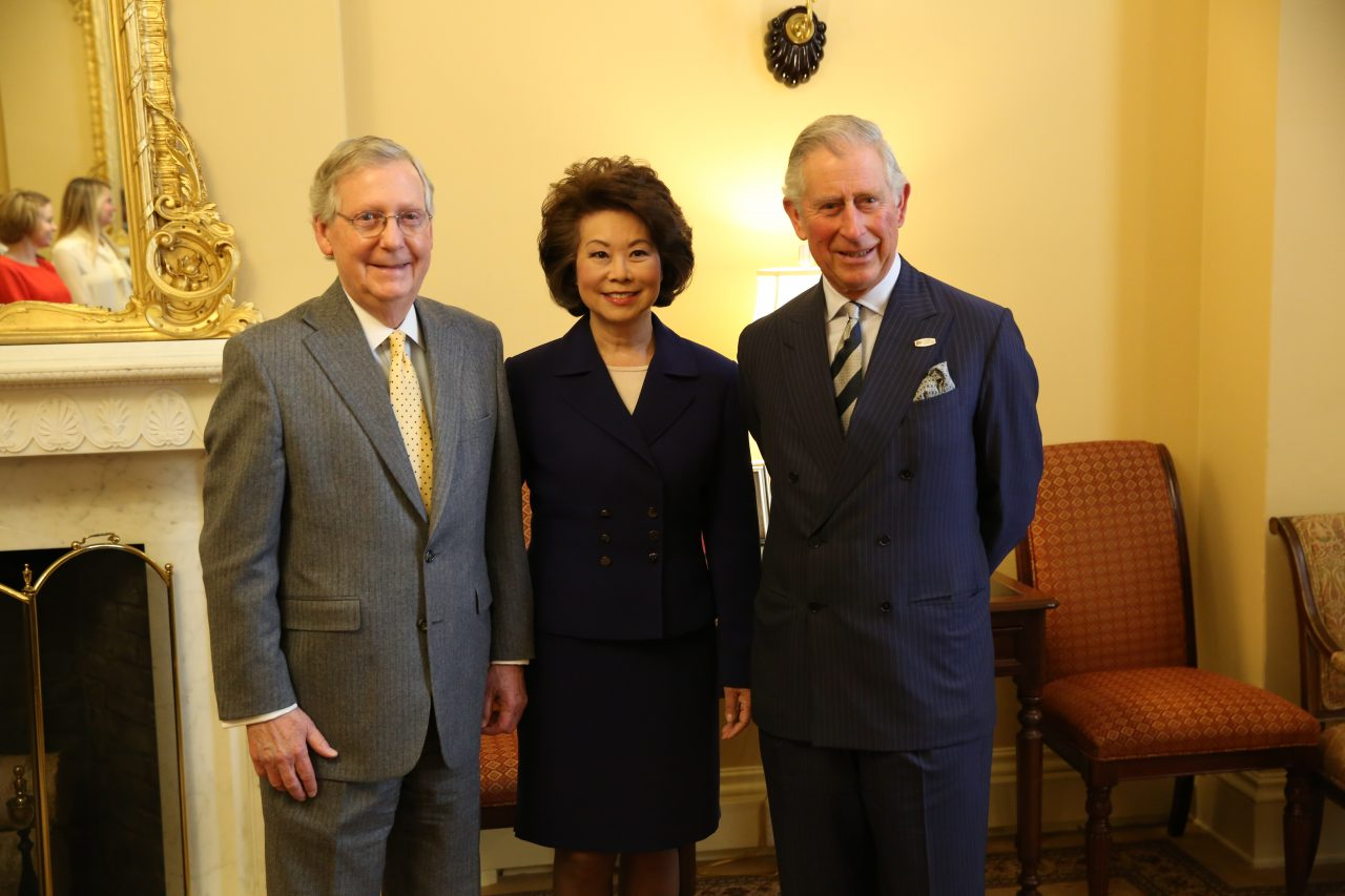 U.S. Senate Majority Leader Mitch McConnell, The Honorable Elaine L. Chao and His Royal Highness Prince Charles, Prince of Wales.