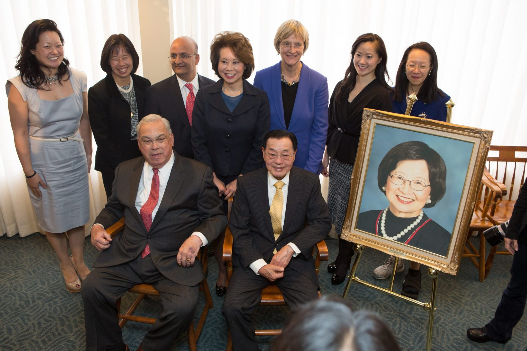 Announcement of major gift to Harvard. At press conference: Dr. James S. C. Chao & daughters including Elaine, May, Christine, Grace & Angela Chao, with Boston Mayor Thomas Menino, Harvard President Drew Faust, HBS Dean Nitin Nohria in honor of Mrs. Ruth Mulan Chu Chao's life and legacy.