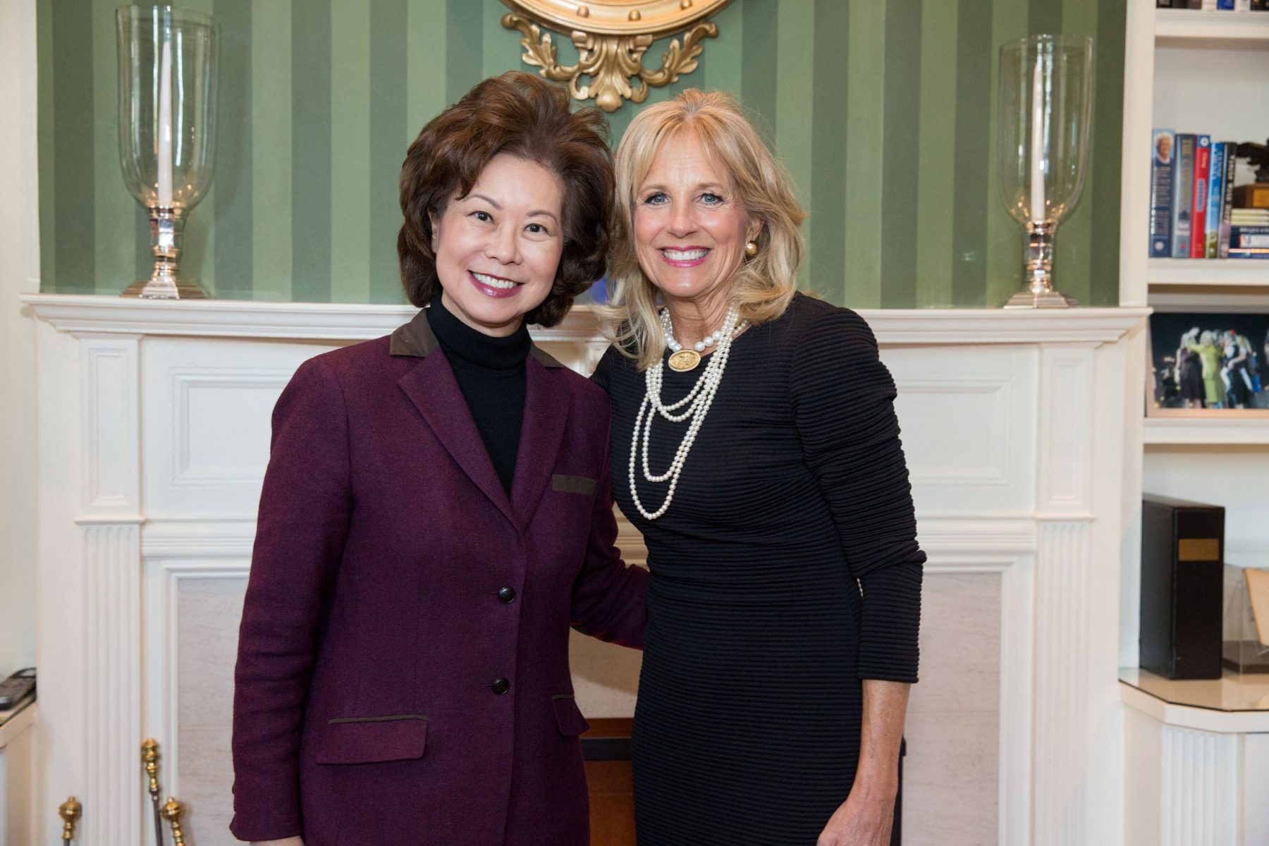 Secretary Elaine Chao with Dr. Jill Biden at the Vice President's residence. Washington, D.C.
