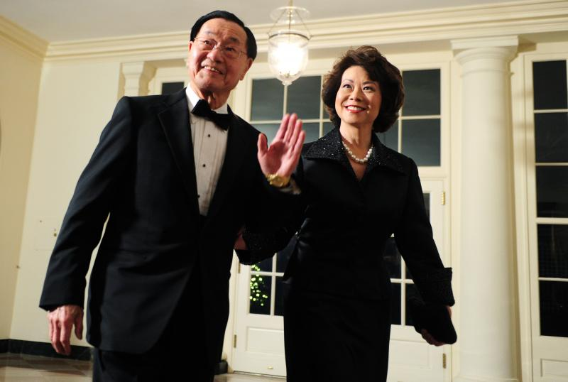 The Honorable Elaine Chao and her father, Dr. James S. C. Chao attend the White House State Dinner for the President of China Hu Jintao.