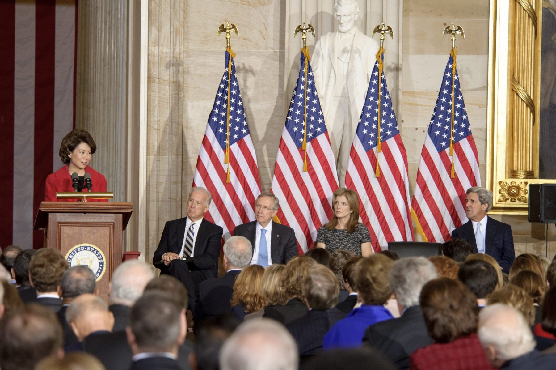 Former Peace Corps Director Elaine Chao giving keynote remarks on the 50th anniversary of the inaugural address of President John F. Kennedy, U. S. Capitol.