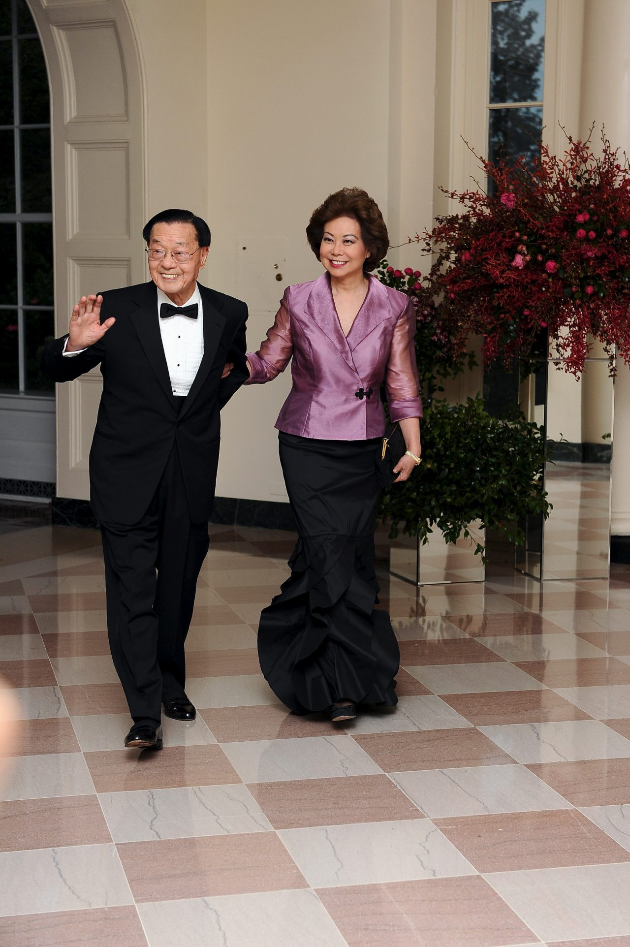 The Honorable Elaine Chao and her father, Dr. James S. C. Chao, arrive for the State dinner for Chinese President Xi Jinping and First Lady Peng Liyuan at the White House in Washington, D.C.