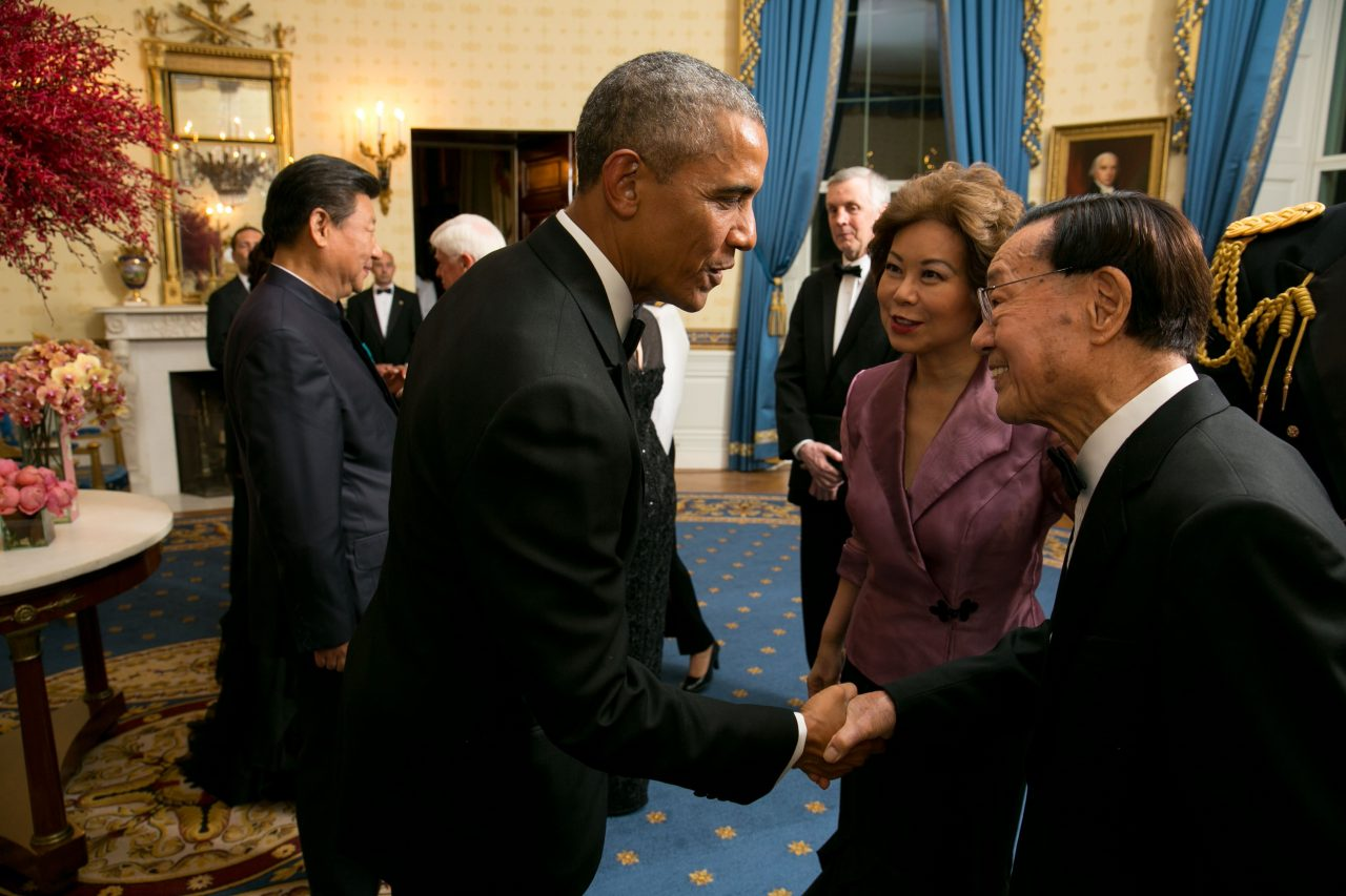 Dr. James S. C. Chao being greeted by President Barack Obama at the White House State Dinner in honor of China's President Xi Jinping.