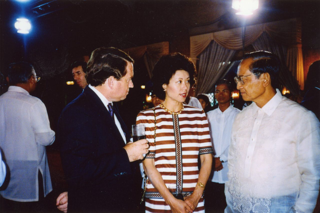 Leading the Presidential Delegation to the Inauguration of President Fidel Ramos of Philippines, Peace Corps Director Elaine Chao in conversation with President Fidel Ramos.