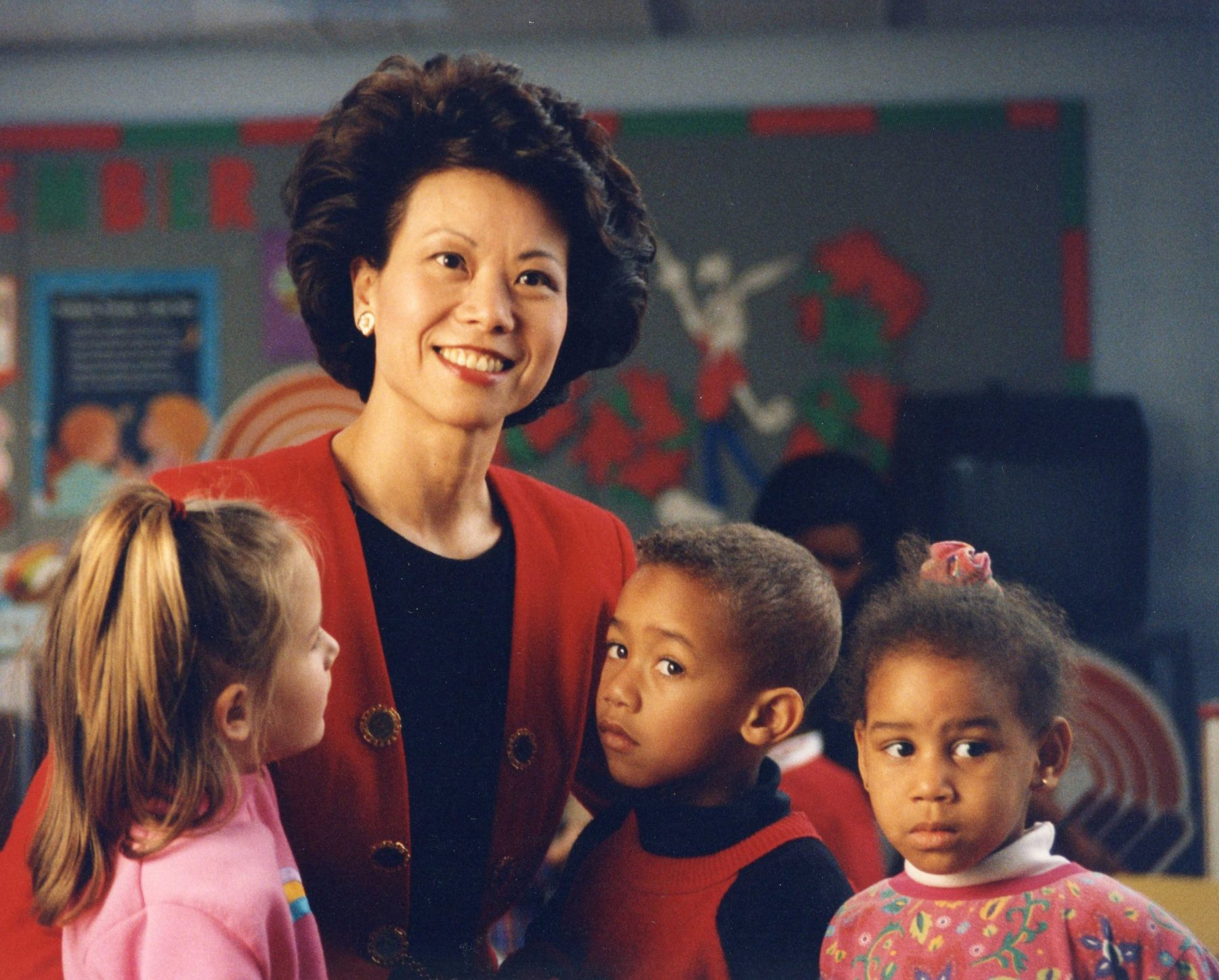 United Way of America President & CEO Elaine Chao visiting a United Way funded child daycare center.