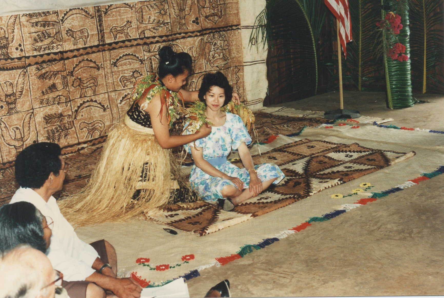 Tongans honoring Peace Corps Director Elaine Chao during a welcome ceremony.