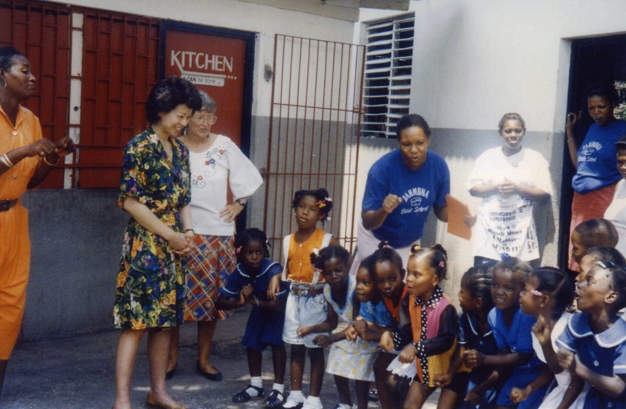 Peace Corps Director Elaine Chao visiting Peace Corps Volunteers at a school in Kingston, Jamaica.