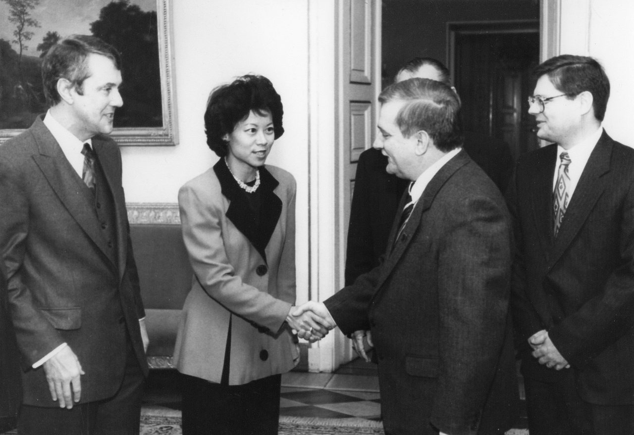 Peace Corps Director Elaine Chao meeting with Lech Walesa, President of Poland in Warsaw.