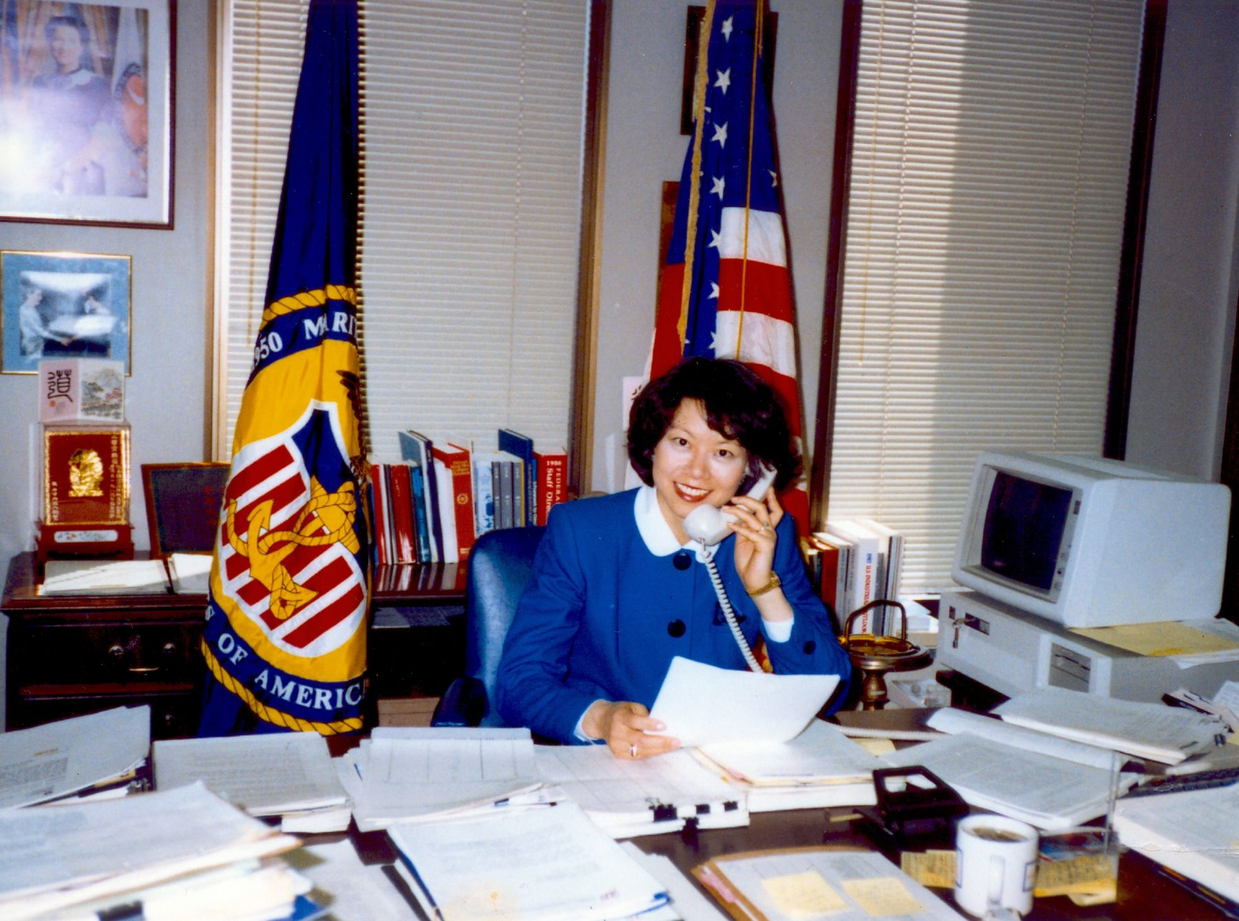 Deputy Maritime Administrator Elaine Chao in her office at the U. S. Department of Transportation, Washington, D. C.
