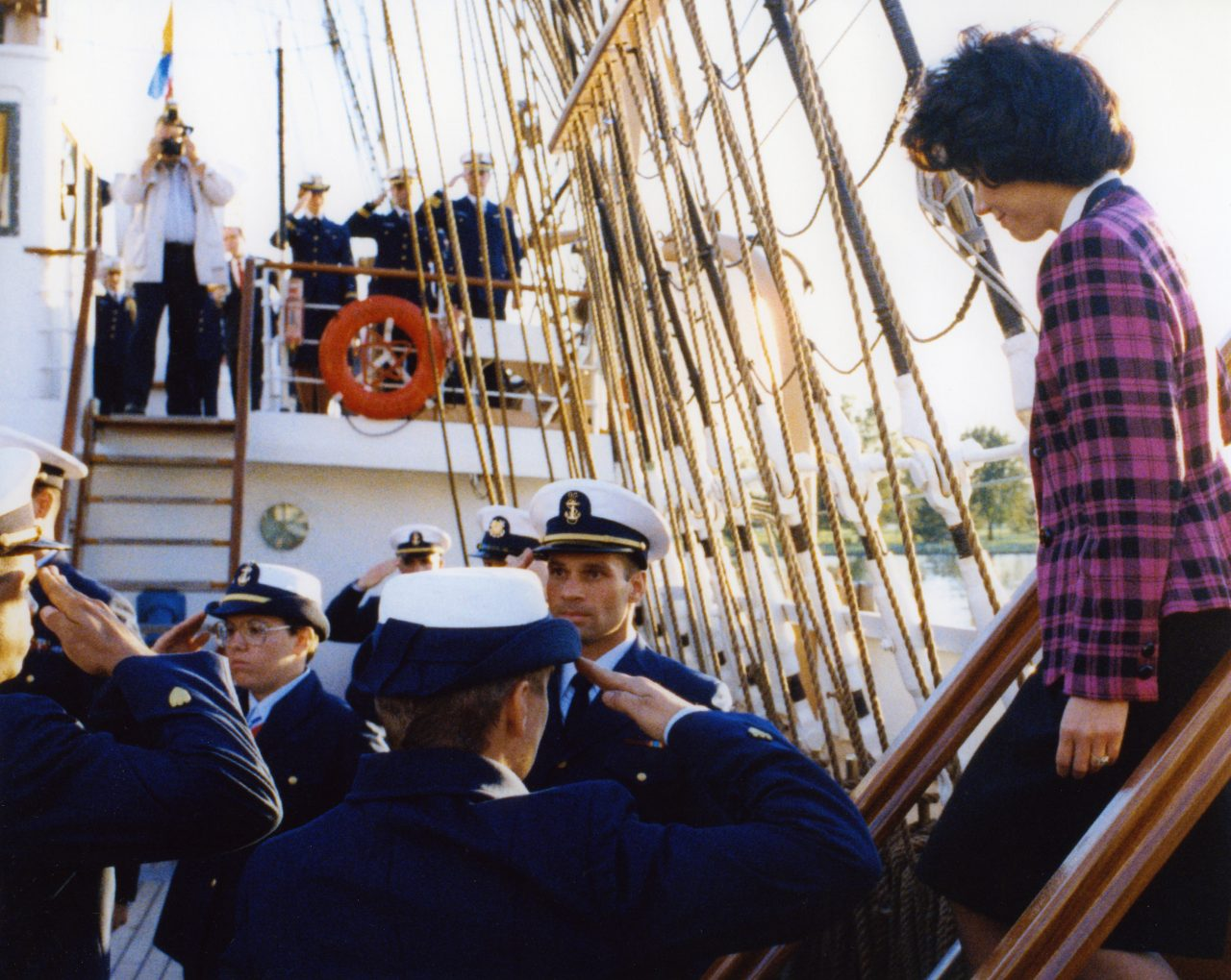 U.S. Deputy Secretary of Transportation Elaine Chao visiting the U.S. Coast Guard training vessel, The Eagle.
