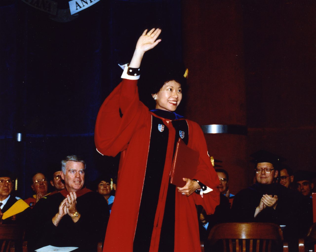 U.S. Deputy Secretary of Transportation Elaine Chao receiving an honorary doctorate degree from St. John's University in New York.
