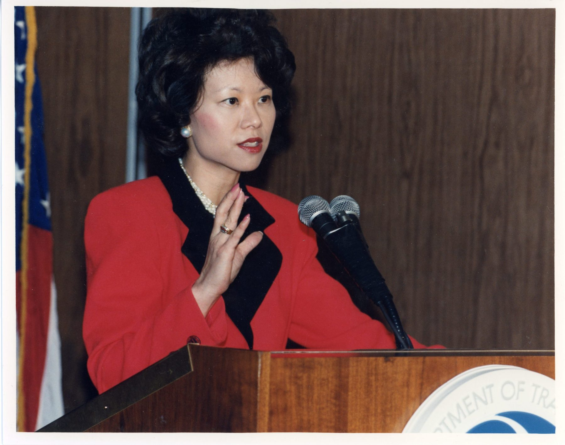 U.S. Deputy Secretary of Transportation Elaine Chao giving the budget presentation at a press conference. U.S. Department of Transportation, Washington, D.C.