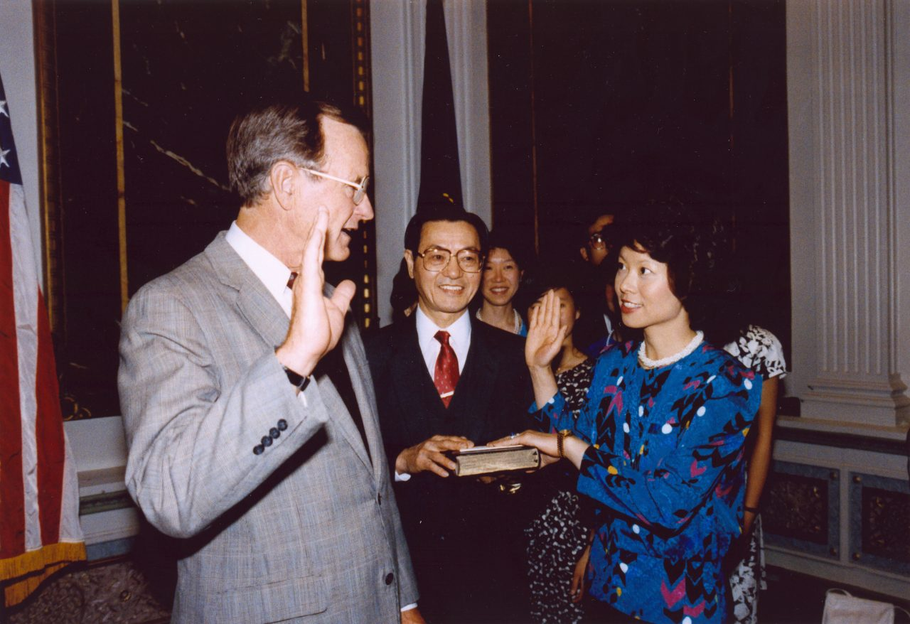 Elaine Chao being sworn in as Chairman of Federal Maritime Commission by Vice President George H. W. Bush.
